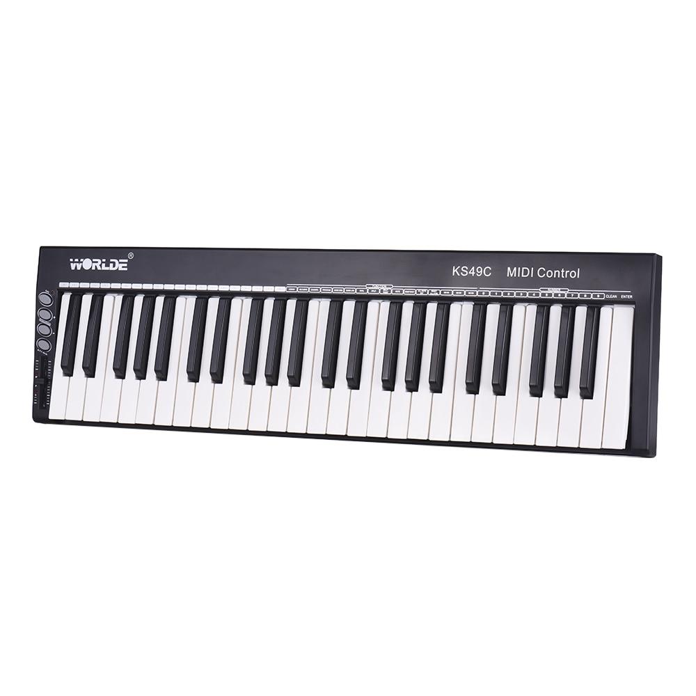 WORLDE  MIDI Keyboard Controller KS49C 49 Keys USB MIDI Keyboard with 6.35mm Pedal Jack MIDI Out