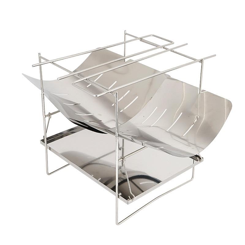 Estufa de leña portátil para exteriores ultraligera, estufa de carbón para barbacoa plegable multifuncional