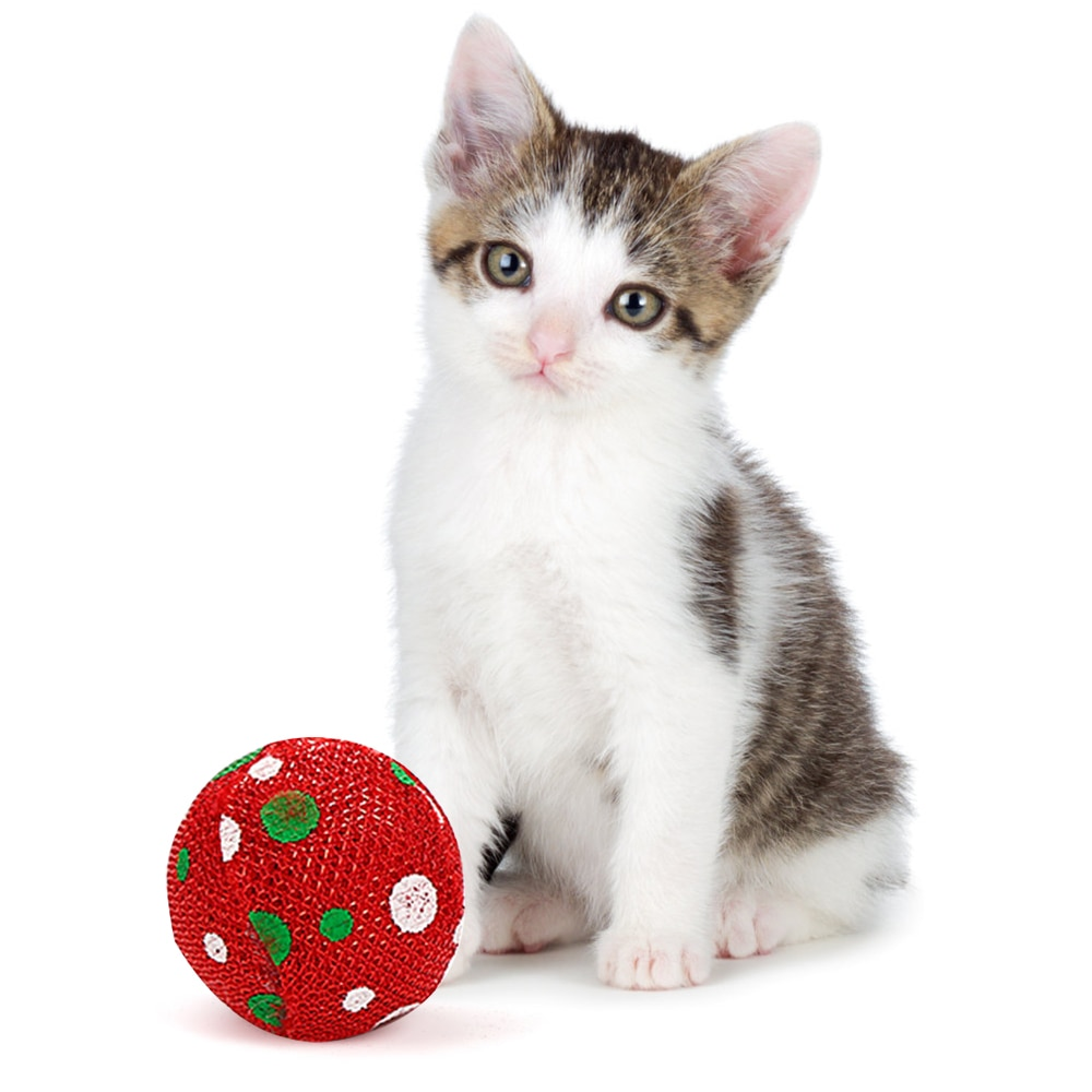 5pcs Cat Toys Christmas Ball Catnip Pets Kitten Funny Colorful Interactive Pet Exercise for Cats Random Colors