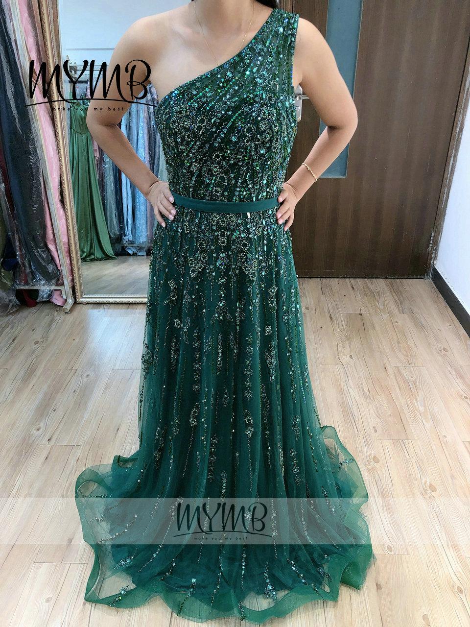 MYMB-فستان سهرة أخضر زمردي ، غير متماثل ، كتف عاري ، ملابس نسائية مصممة ، MY21116 ، 2021