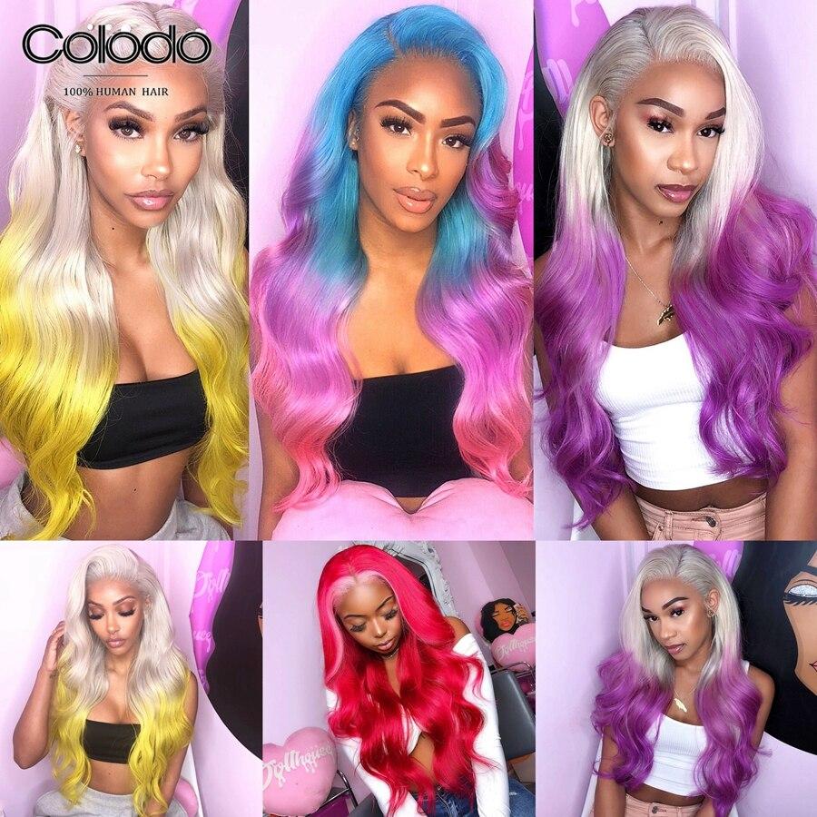 Парики из натуральных волос на кружевной основе, волнистые, цвет розовый, красный, парики из натуральных волос, парики для женщин