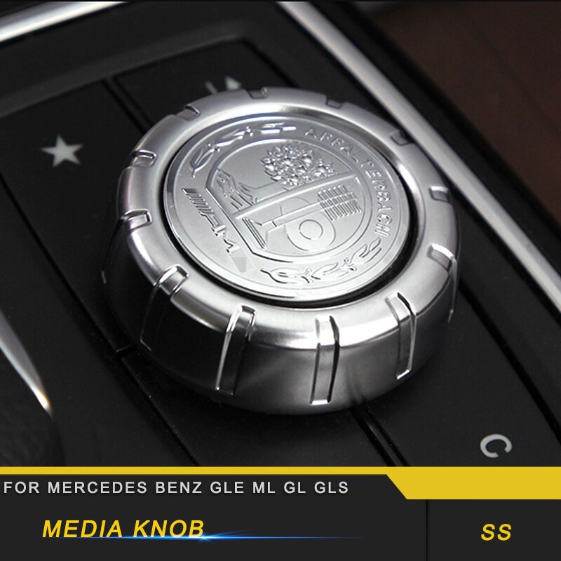 For Mercedes Benz GLE W166 Coupe C292 2016-2018 Auto Media Knob Cover Performance Adjust Knob Trim Sticker Accessories