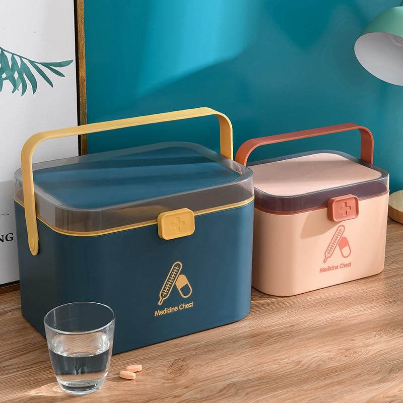WBBOOMING Home Care Medicine Cabinet Plastic Storage Boxes Rectangle Box Portable And Fashion Color & Bins