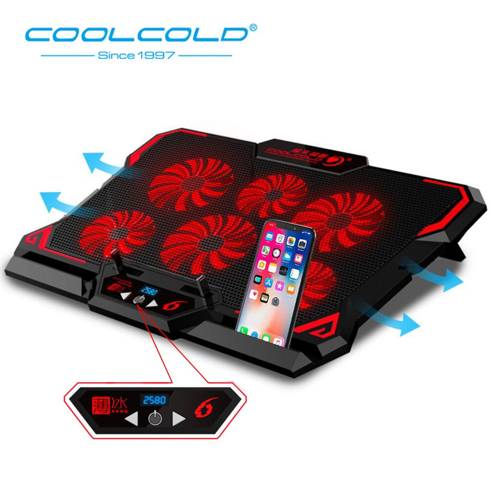 COOLCOLD Gaming Laptop Cooler Notebook Cooling Pad 6 Silent Red/Blue LED Fans Powerful Air Flow Portable Adjustable Laptop Stand