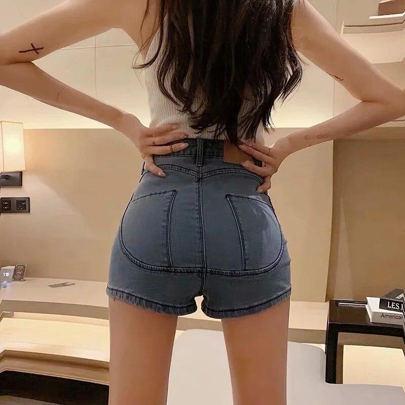 Women's Denim Shorts 2021 Summer New Fashion Casual High Waist Peach Hip Tight Denim Shorts Pants Female Trend Short Femme