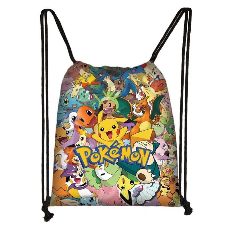 Bolso con cordón estampado de pokemon de dibujos animados pikachu/Bulbasaur/EEVEE/Psyduck mochila niños niñas bolsa de almacenamiento bolsa de libros para niños