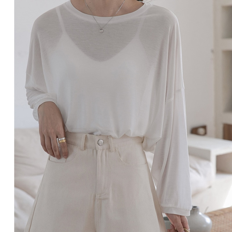 Princess's Ice Silk T-shirt Sunscreen Blouse Women's Long Sleeve Pullover Thin Long Sleeve White Loo