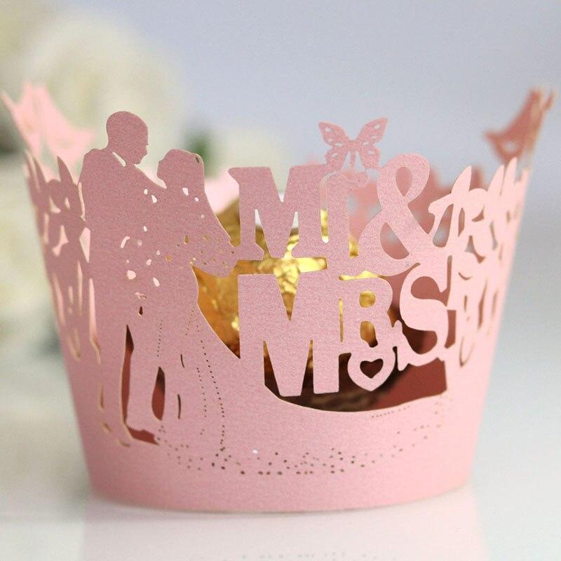 100 pçs/lote mr & mrs corte a laser videira laço cupcake envolvente borboleta forro cozimento copo para festa de casamento noiva favor decoração