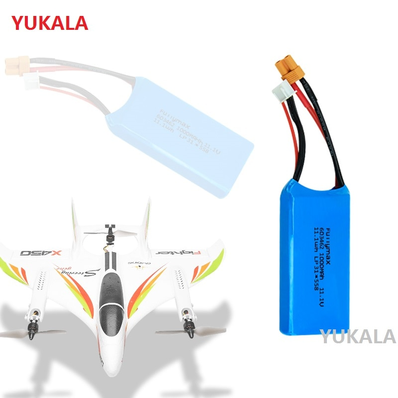 YUKALA XK X450 FPV piezas de recambio de drones RC 11,1 V 1000 mAh batería Lipo 3S XT30 plug 11,1 v 1000 mah