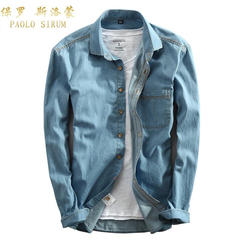 Casual Männer Denim Shirt Langarm Reine Baumwolle Slim Fit Jeans Bluse Mann Kleid Shirts Mode-Design Solide Farbe