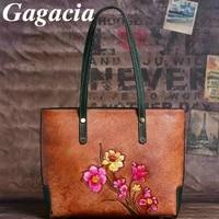 gagacia vintage women bag genuine leather handmade embossed casual tote womans handbags large capacity shoulder bags for woman
