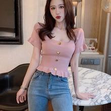 Shintimes-pull à manches courtes pour femmes, hauts court, tricoté, Slim, Sexy, mode coréenne, boutons, été, 2020