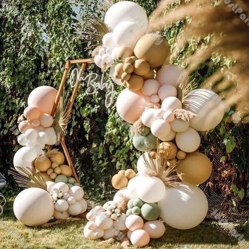 Decoração de Casamento Decoração do Chuveiro do Bebê Dobrado Cram Pêssego nu Balão Guirlanda Arco Dusty Green Fosco Branco Cromo Ouro 124 Pçs