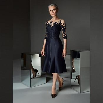 Magnifiques robes de mère de la mariée en dentelle bleue, longueur genou, avec des appliques à manches trois quarts, robes d'invitées de mariage, 2021