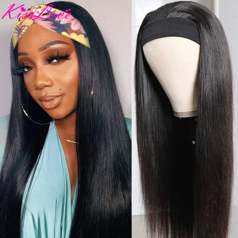 Kiss Love Straight Hair Headband Scarf Wig for Women No plucking No Sew In High-quality Chic Style Glueless 100% Human Hair Wigs