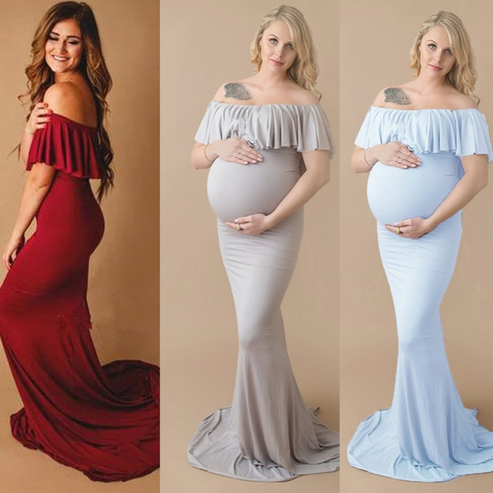 Maternity Dresses For Photo Shooting Sheath Ruffle Collar Dress Maternity Photography Props Pregnancy Dress Maternity Grown enlarge
