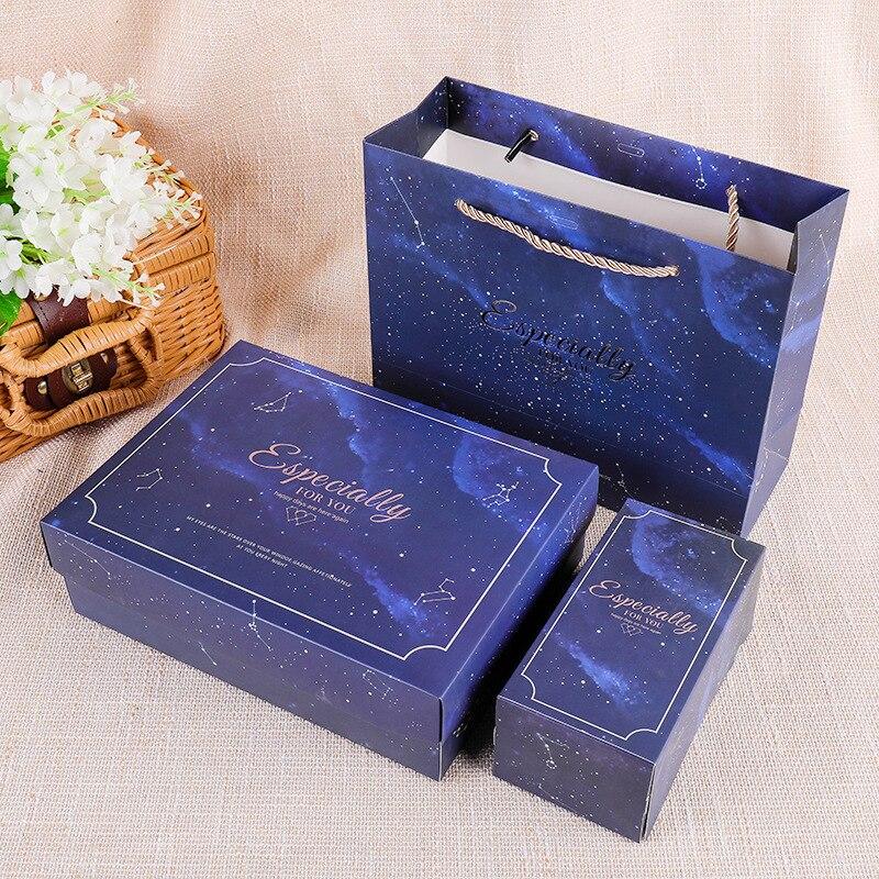 20 piezas-Bolsa de regalo de estrellas azules con asa, embalaje de papel...