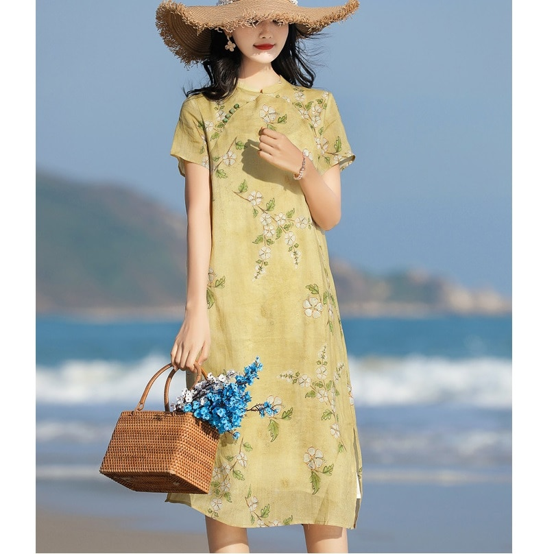 Summer New Ramie Printing Women's Clothing Mandarin Collar Long Dress Women Summer Dress 2021 Bride Dresses