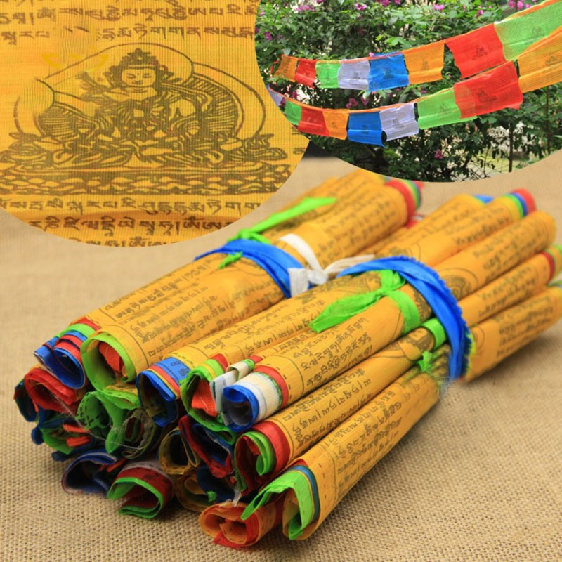 Religious Flags Tibetan Buddhist Supplies Colour Print Prayer Flag Tibet Banner Garden Flags 5M 20 Sheets