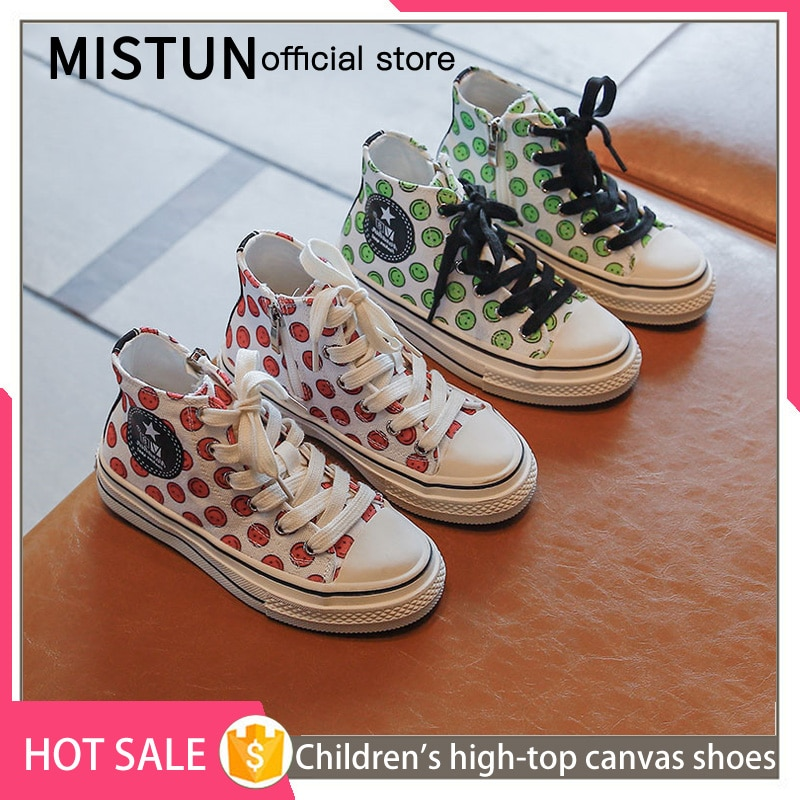 Children's high-top canvas shoes 2021 spring and autumn new girls smiley lace-up sneakers little gir