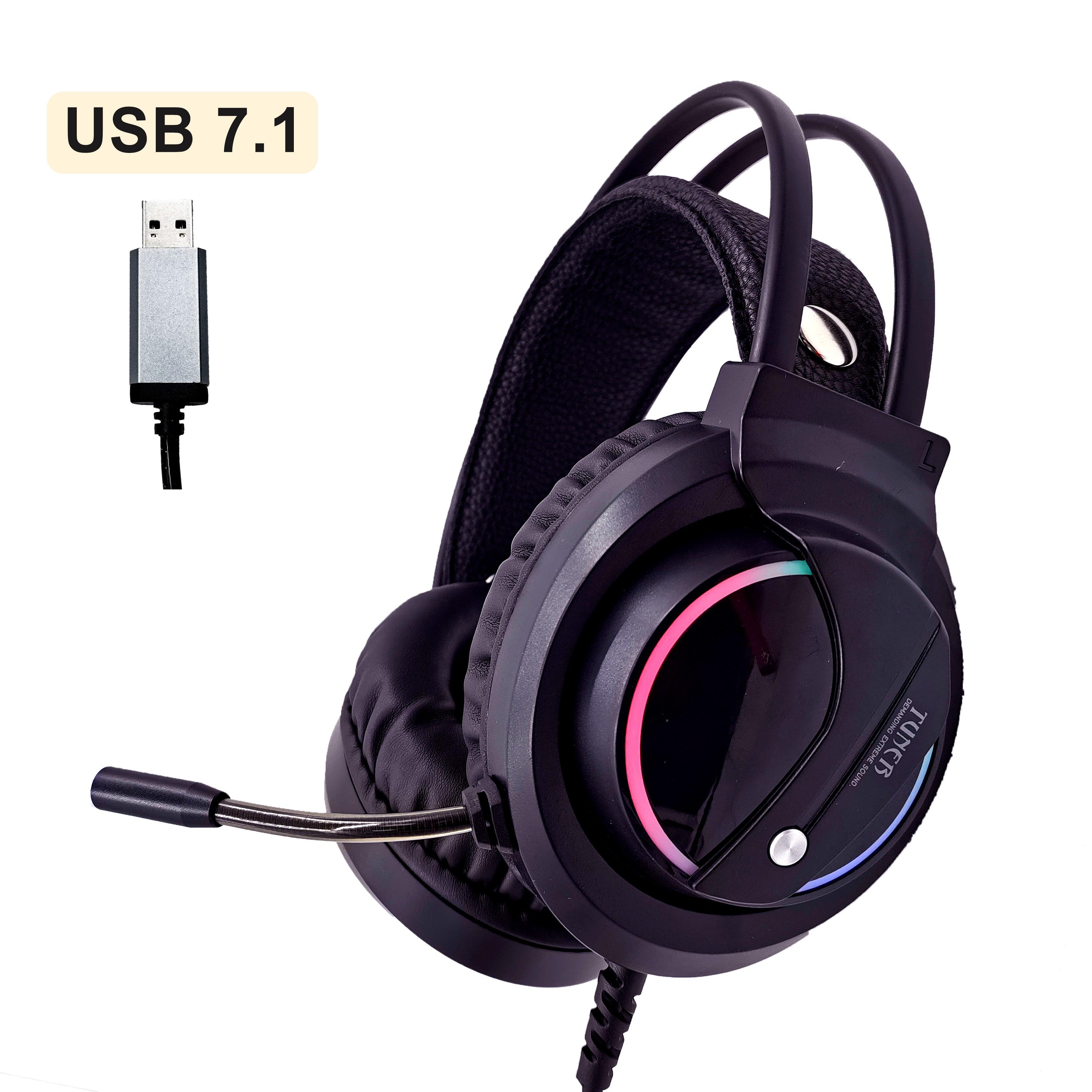 Auriculares para juegos de música sonido envolvente con micrófono auriculares USB 7,1 y con cable RGB luz trasera auriculares para juegos alta calidad de sonido