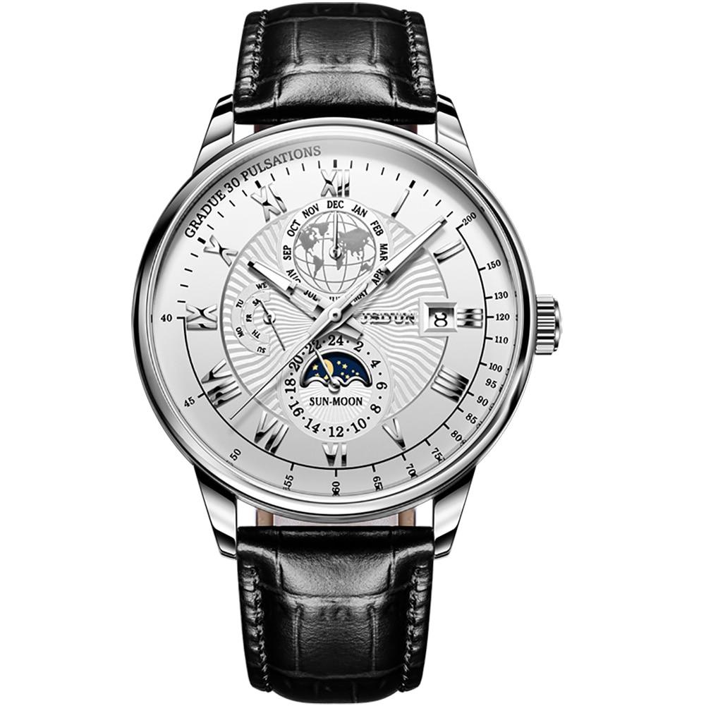 JSDUN-Men's Luxury Mechanical Watch, Automatic, Classic Watch, Moon Phase, Leather, Waterproof, Fashion And Leisure