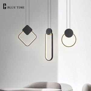 Black White LED Pendant Lights For Living Room Dining Room Bedroom Decor Bedside Lights Home Indoor Hanging LED Pendant Lamps