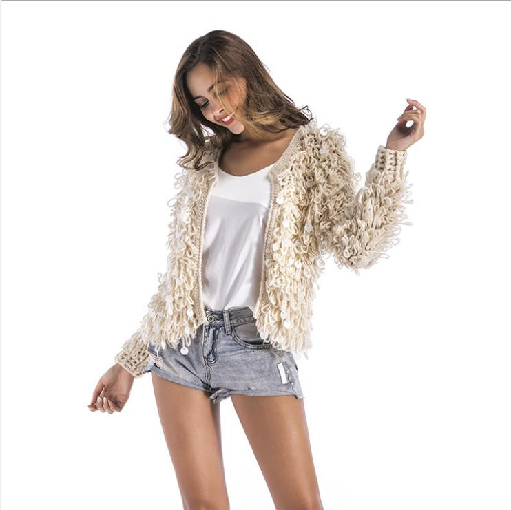 Nueva moda invierno suelto borla Mujer ropa Casual abrigo caliente Color sólido manga larga Mujer Oficina señora abrigo S117