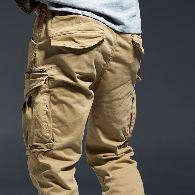 SHZQ الكاحل طول سراويل للجري الرجال الدنيم القطن جيوب مرونة الخصر البضائع السراويل الرجال الشتاء السراويل التكتيكية سميكة