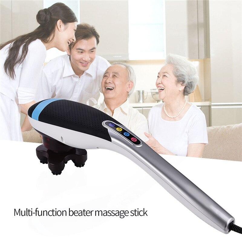 6 in 1 Electric Handheld Shoulder Back Neck Massager Massage Hammer Stick Body Knock Vibration Blood Circulation Pain Relief