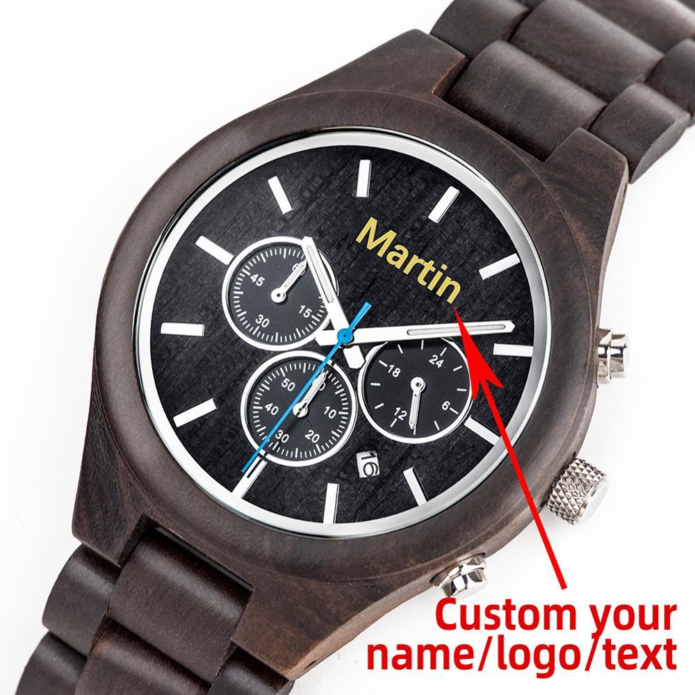 Мужские наручные часы с хронографом и календарем из эбенового дерева