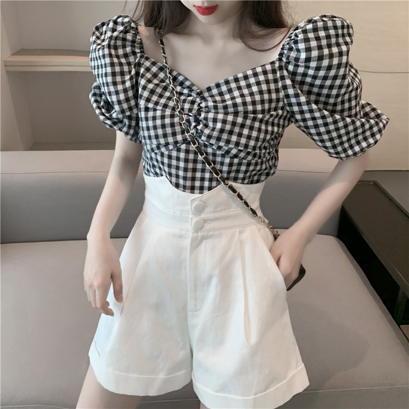 French Style Retro Square Collar Plaid Shirt Women's Puff Sleeve Top High Waist Slimming All-Matchin