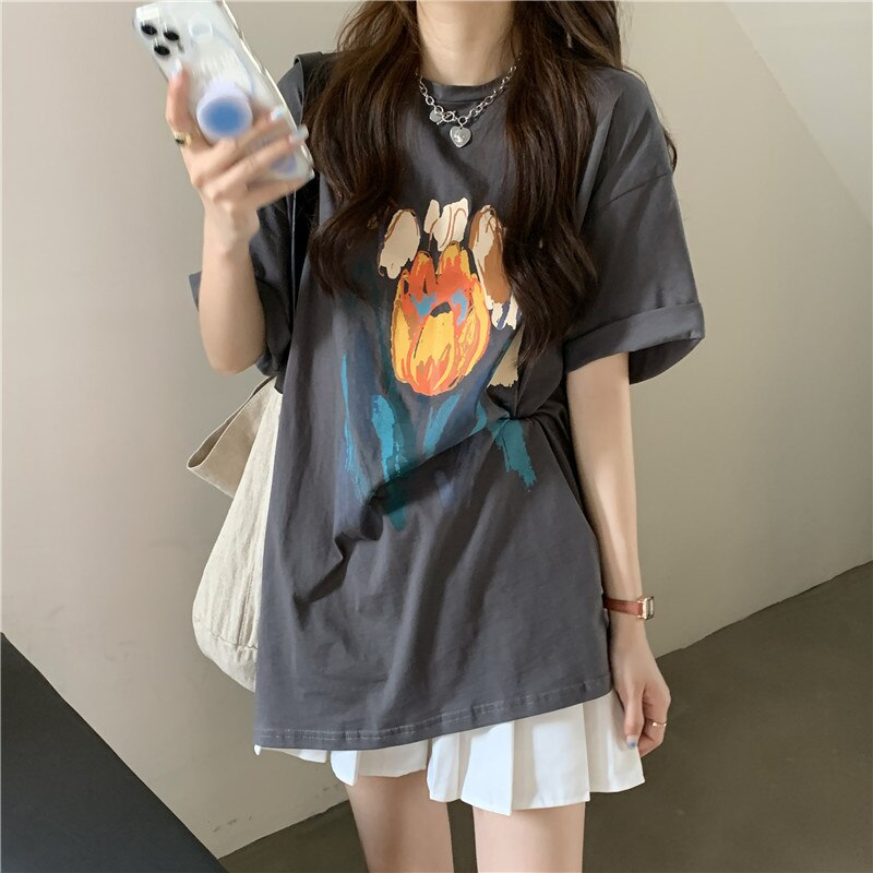 Summer Clothes Short Sleeve T-shirt Women's 2021 New Pure Cotton American Large Loose Medium Length