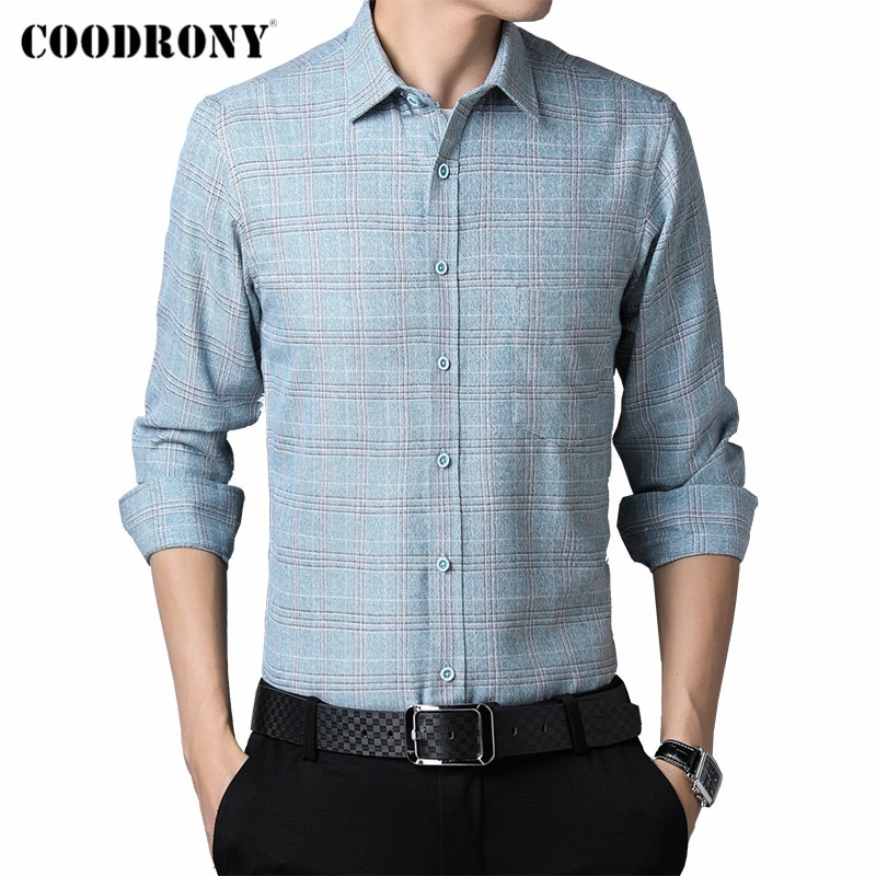COODRONY Brand Spring Autumn New Arrival 100% Cotton Long Sleeve Shirt Men Business Casual Fashion Striped Pocket Clothing C6179