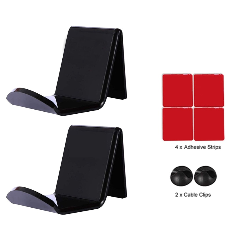 2Pcs Wall Mounted Acrylic Headset Hanger Video Game Controller Bracket Self-Adhesive Hanging Stand for Internet Cafe Gaming Room