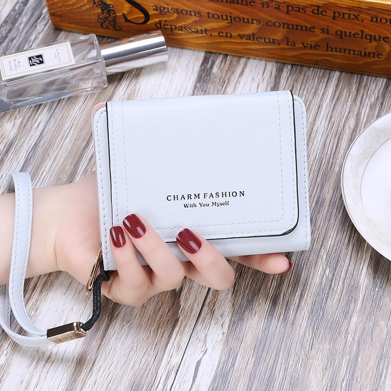 Women`s Wallet Korean Version Small Fresh Wrist Band Zipper Student Photo Card Zero Purse Short Three-Fold Coin Clutch New недорого