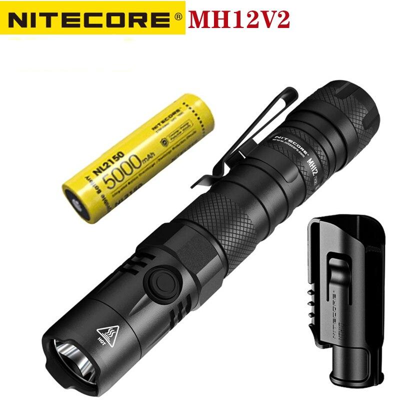 nitecore mh12v2 lanterna tatica recarregavel 1200 lumens luz dura utiliza um cree