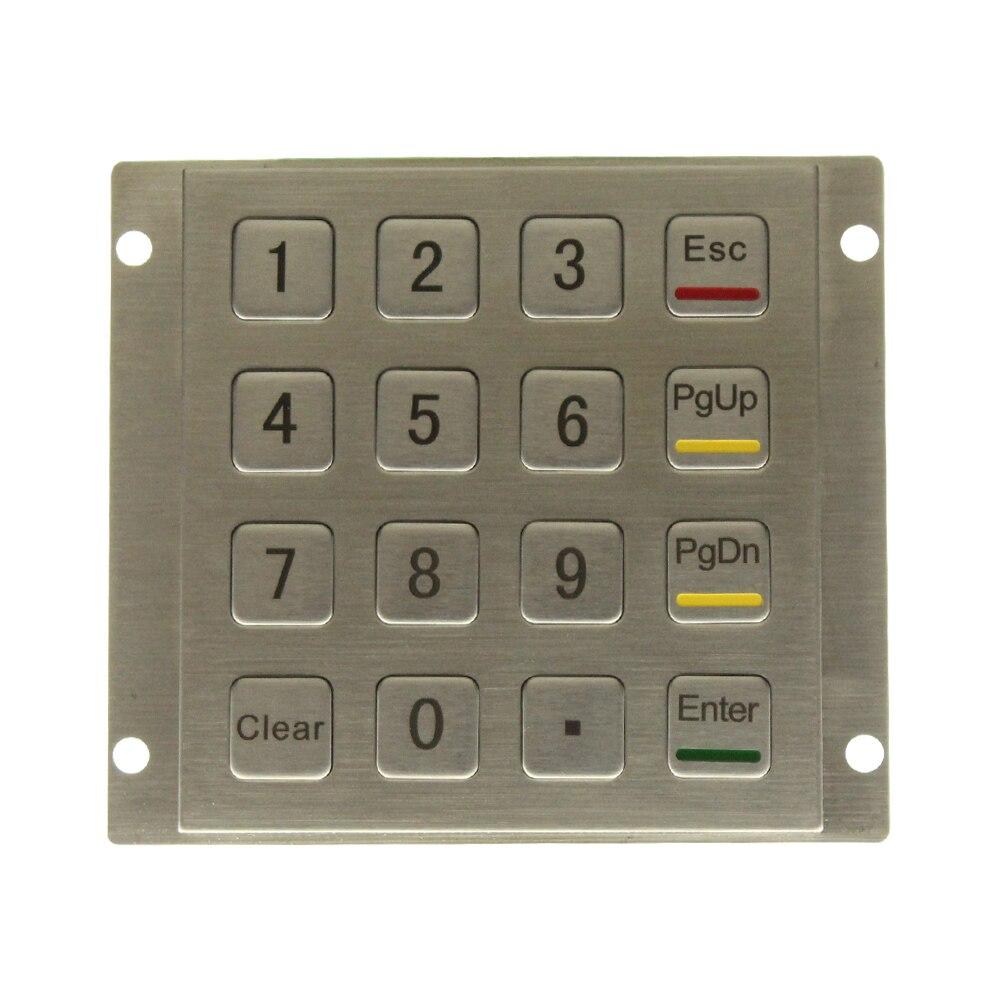 De Metal a prueba de vandalismo y montaje en Panel de acero inoxidable teclado para Kiosk USB Industrial teclado numérico con 16 llaves 4*4