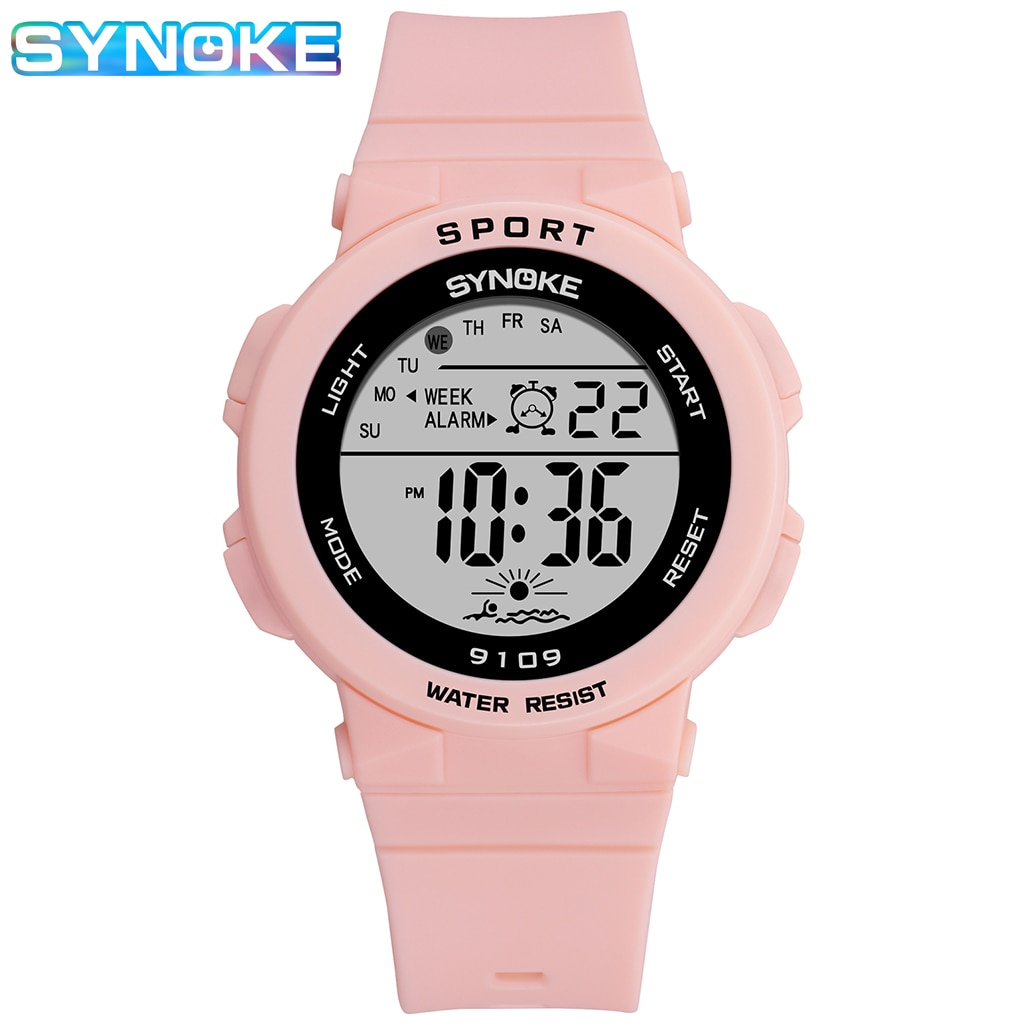 2020 children girls kid watches analog digital sport led electronic waterproof wrist watch boy child new	horloge relojes niños SYNOKE Children Watch Pink Electronic Clock For Boy Girl Analog Digital Alarm Sport Waterproof Luminous Student Wrist Watch