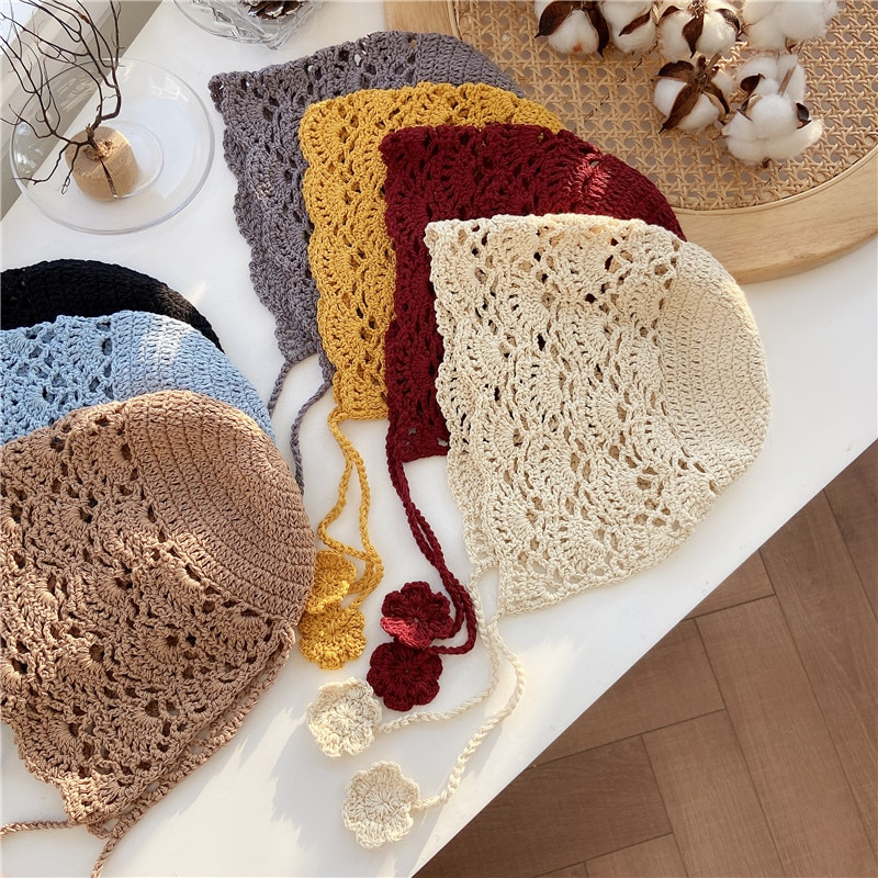 Handmade Thin Lace up Weaving Hollow Hat Toe Cap Knitted Hat Spring and Autumn Lace Mesh Cap Elegant