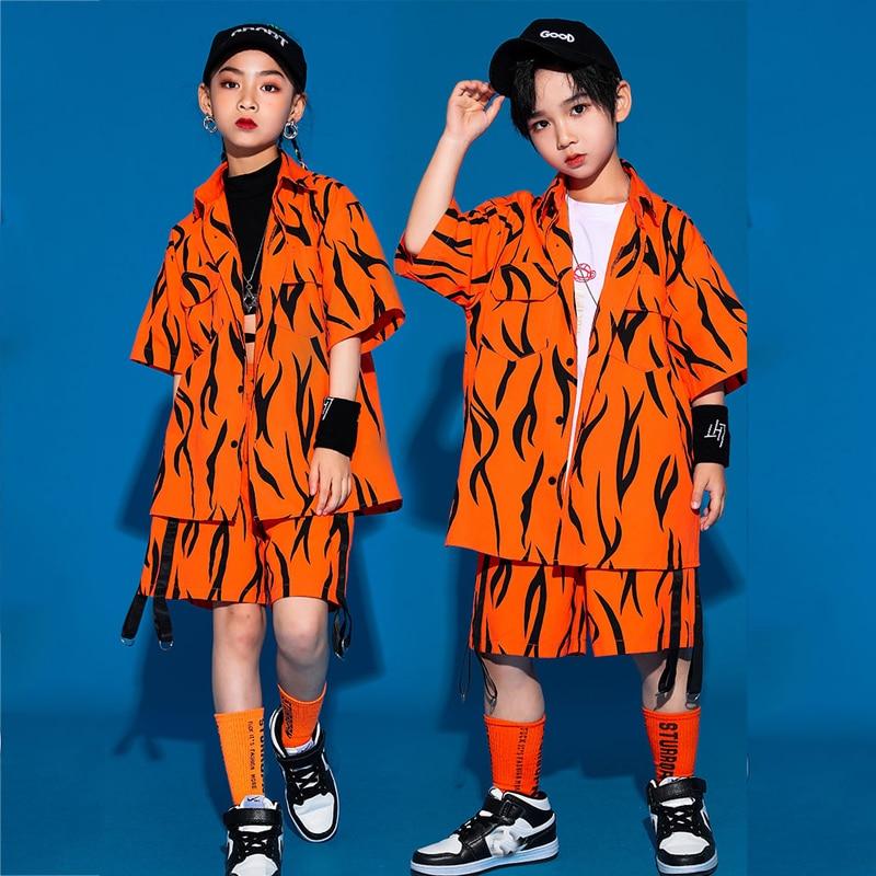 ملابس هيب هوب برتقالية اللون سراويل قصيرة غير رسمية للبنات والأولاد قاعة الجاز ملابس الرقص ملابس المسرح ملابس الهذيان بدلة XS1879