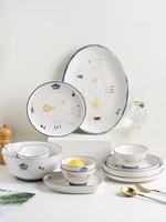 bowl and dish set household tableware ceramic bowls plates and chopsticks combination