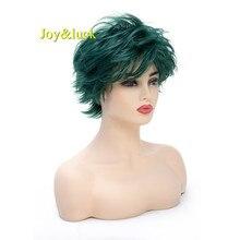 Joy & luck-peluca corta para mujer, cabellera sintética de color verde oscuro, disfraz Natural liso, peluca esponjosa para Cosplay
