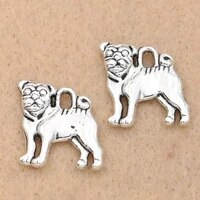 10pcs tibetan silver plated pug dog charms pendants for jewelry making necklace diy craft charms handmade 16x15mm
