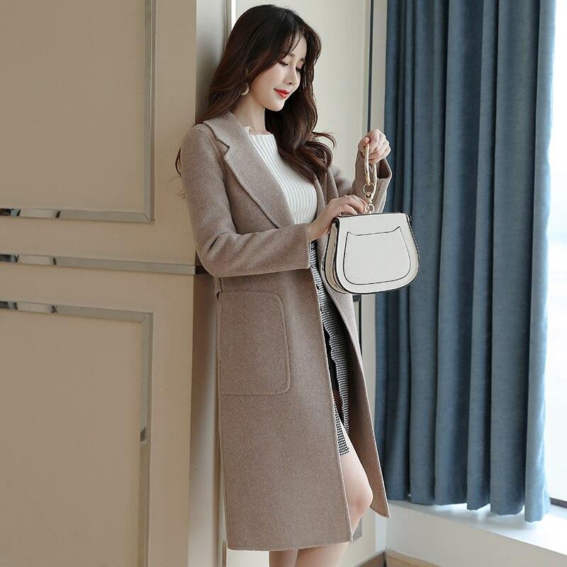 Abrigo de lana Mujer otoño Invierno abrigo Mujer doble cara Chaqueta larga...