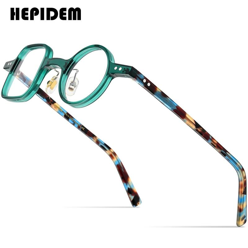 HEPIDEM نظارات بمادة الخلات الإطار الرجال 2021 ريترو خمر اليسار ساحة اليمين مستديرة النظارات قصر النظر النظارات البصرية 9155