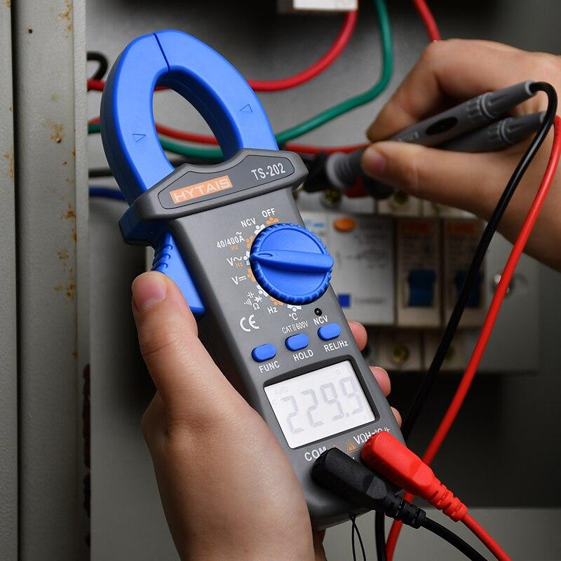 Probador de amperaje de corriente alterna CC TRMS medidor de pinza Digital NCV ohmios multímetro de temperatura de capacitancia Hz multímetro multivelocidad