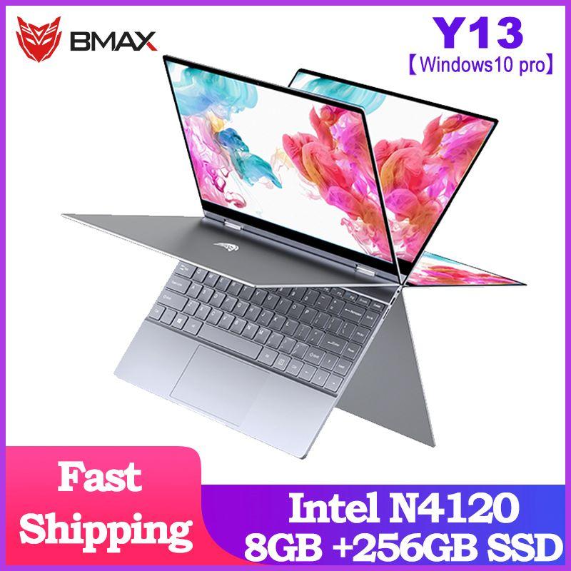 Ordenador portátil BMAX Y13 360 °, ordenador portátil de 13,3 pulgadas, Windows 10 Pro 8GB LPDDR4 256GB SSD 1920*1080 IPS, ordenadores portátiles con pantalla táctil Intel N4120