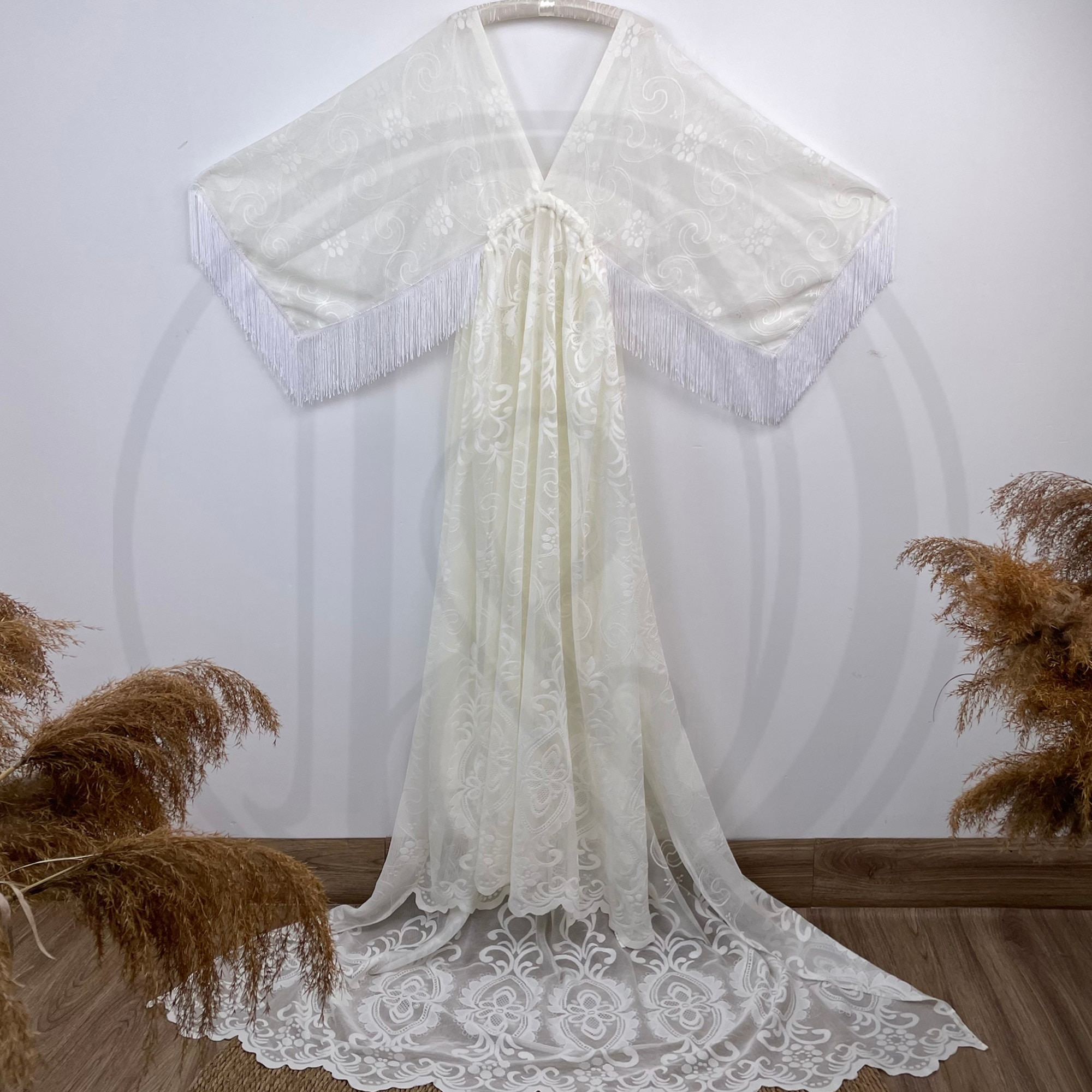 Photo Shoot Couture Boho Robe Cream Maternity Dress Floral Pregnant Gown for Woman Photography Costume Baby Shower Clothing