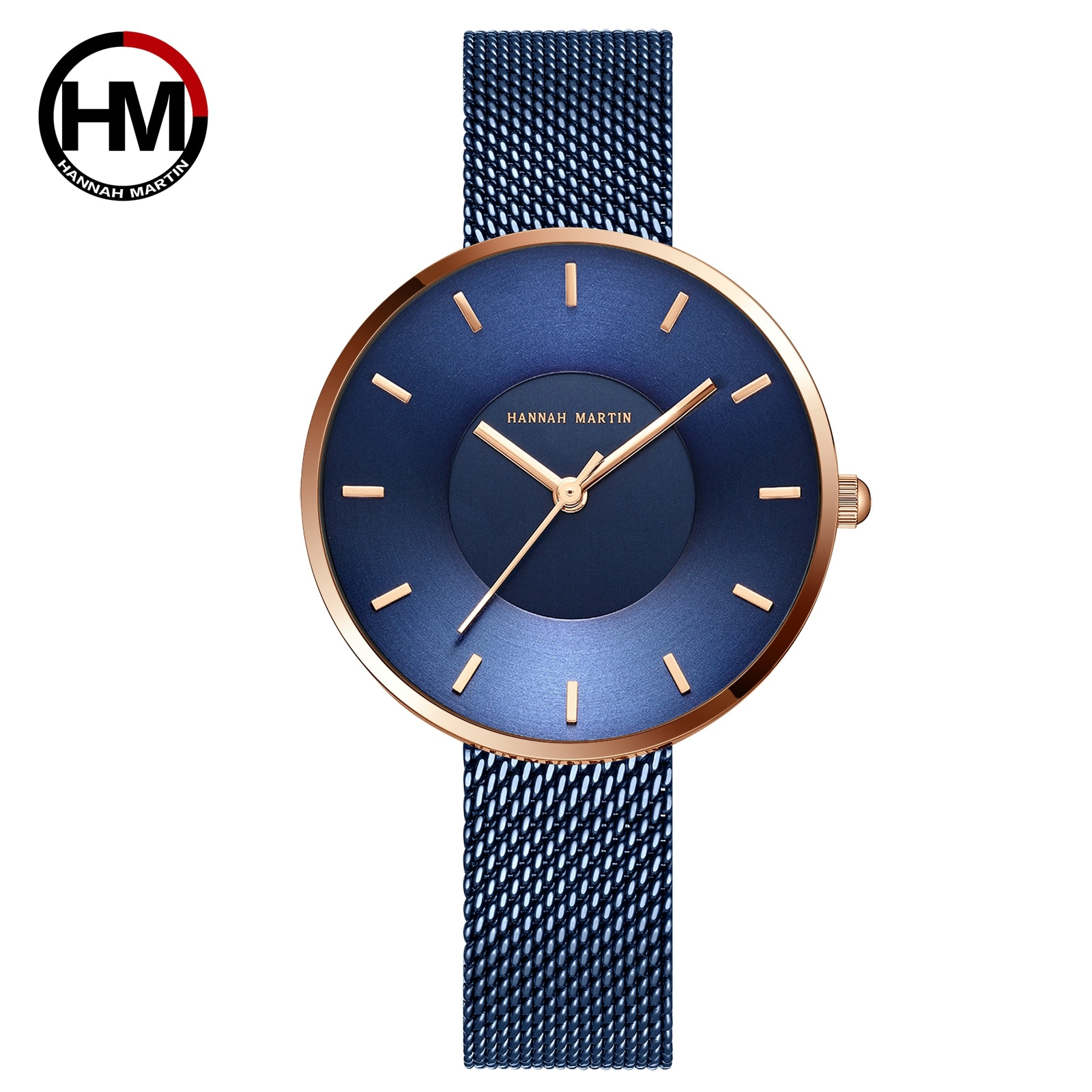 JAPAN MIYOTA 2035 Quartz Movement Simple Design Luxury Gift Stainless Steel Band Curved Face Blue Rose Gold Watches For Women enlarge